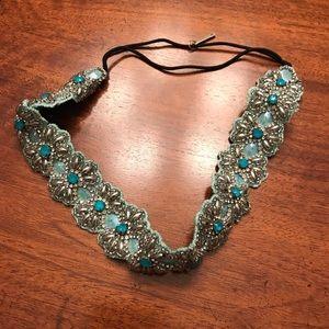 Anthropologie elastic headband with blue beading